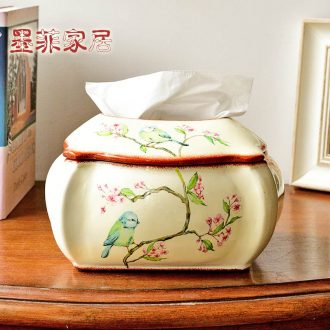 Murphy American countryside painting of flowers and birds ceramic tissue box house living room table European rural pumping paper furnishing articles