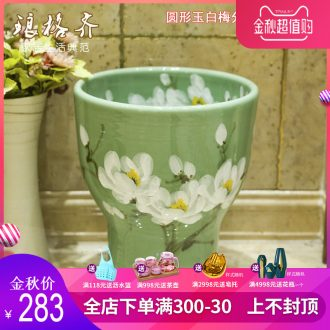 Koh larn, qi balcony mop pool ceramic basin large outdoor hand-painted art mop mop mop pool ChiYu salted and dried plum