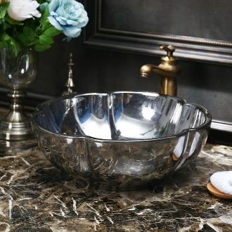 JingYuXuan ceramic lavatory basin basin sink key-2 luxury art stage quincunx silver dark flower pot