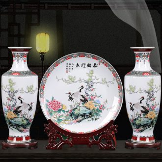 Ceramic vase three - piece furnishing articles sitting room of Chinese style household office flower arranging, jingdezhen decorations arts and crafts