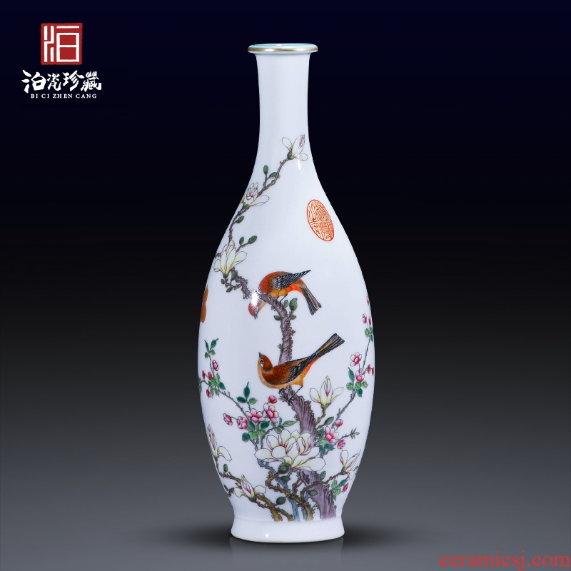 Jingdezhen ceramics imitation the qing qianlong vase powder enamel guanyin sitting room of the new Chinese style household adornment furnishing articles