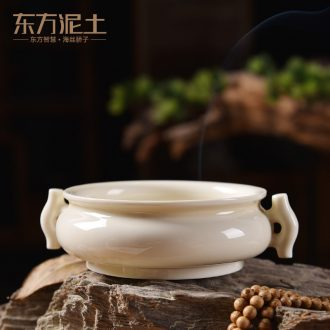 Oriental clay ceramic antique incense buner household smell incense coil incense buner indoor aloes sandalwood aroma stove/halberd ear furnace