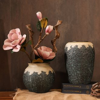 Chinese style restoring ancient ways is coarse ceramic club hotel furnishing articles sitting room window flower arrangement of large vase yulan flower POTS