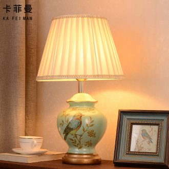 Ceramic lamp American pastoral European study of new Chinese style restoring ancient ways the sitting room the bedroom, cloth art berth lamp warm warm light