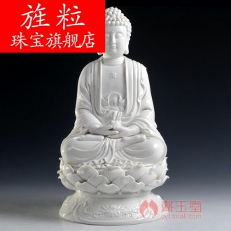 Bm dehua white porcelain ceramic Buddha worship that occupy the home furnishing articles 14 inches full lotus three holy D01-448 in the west