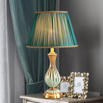 American whole copper ceramic desk lamp LED the study of bedroom the head of a bed model chandeliers contracted sweet and creative move