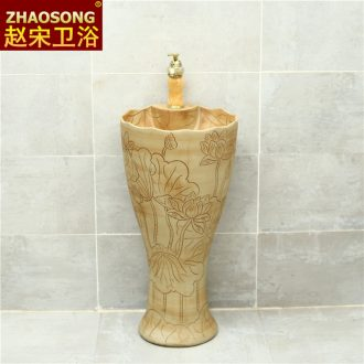 Pillar type restoring ancient ways outdoor lavatory washbasins courtyard archaize ceramic outdoor floor pillar one basin
