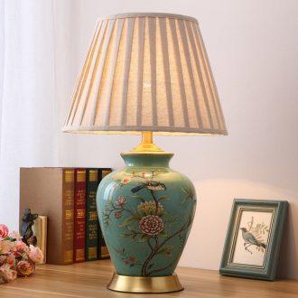 Sitting room lamp bedroom berth lamp American pastoral European - style villa atmosphere full of new Chinese style restoring ancient ways of copper ceramic lamp