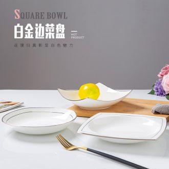Jingdezhen creative white 0 square deep dish ceramic tableware household the up phnom penh dish steak dinner plate