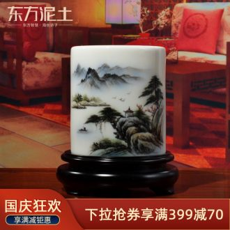 Oriental creative hand-painted ceramic brush pot soil practical office furnishing articles study the elder teacher commemorative gifts