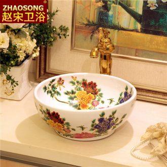 Jane 's household ceramics trumpet stage basin bathroom toilet lavabo balcony sink creative basin 35 cm