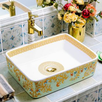 Quadrate pottery and porcelain basin stage basin home European art creative wei yu the pool that wash a face in the bathroom toilet basin that wash a face