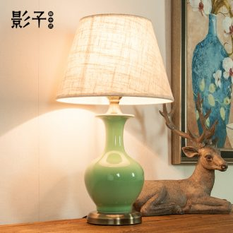 French rural ceramic desk lamp, green design study of I and contracted sitting room hotel desk lamp of bedroom the head of a bed, 1001