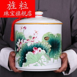 Continuous large grain of jingdezhen ceramics caddy fixings puer tea pot put POTS storage jar flower POTS