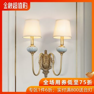 Kc new French rural light and decoration ceramics full copper wall lamp sitting room background wall of corridor double creative personality copper lamp