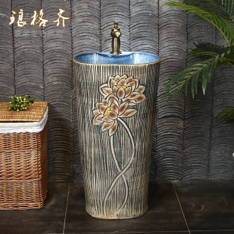 Chinese style restoring ancient ways ceramic basin of pillar type lavatory one pillar courtyard outside the sink sink on the floor