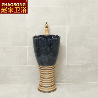 Retro ceramic one-piece floor pillar lavabo toilet basin sink outdoor toilet basin