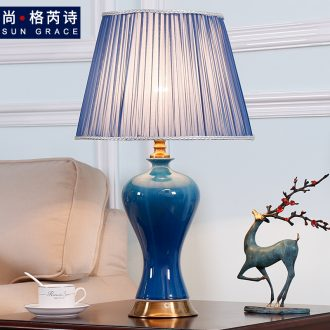 Nordic ins ceramic desk lamp American pastoral postmodern sitting room creative web celebrity of bedroom the head of a bed sweet romance