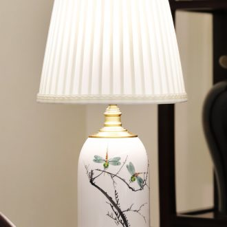 New Chinese style lamp ceramic decoration art of I and contracted design Chinese wind full copper lamps and lanterns of the sitting room the bedroom of the head of a bed