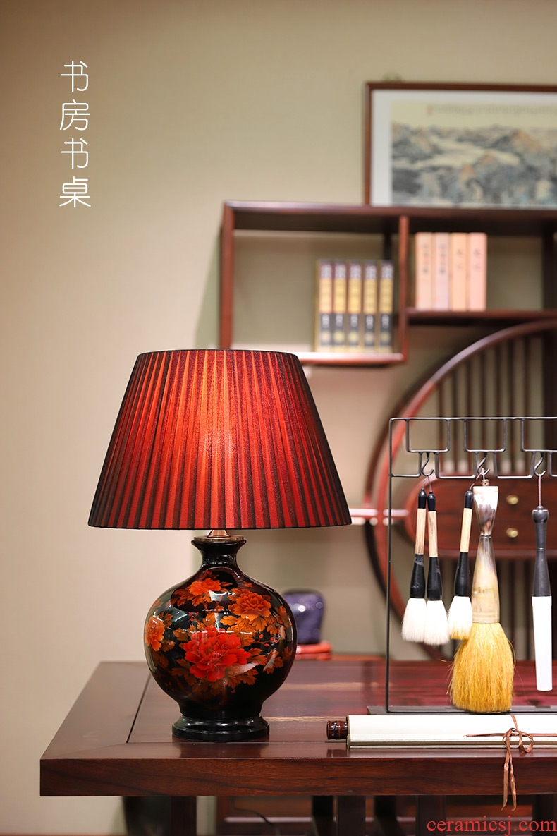 New Chinese style lamp ceramic decoration art modern I rich red copper lamps and lanterns of the sitting room the bedroom of the head of a bed