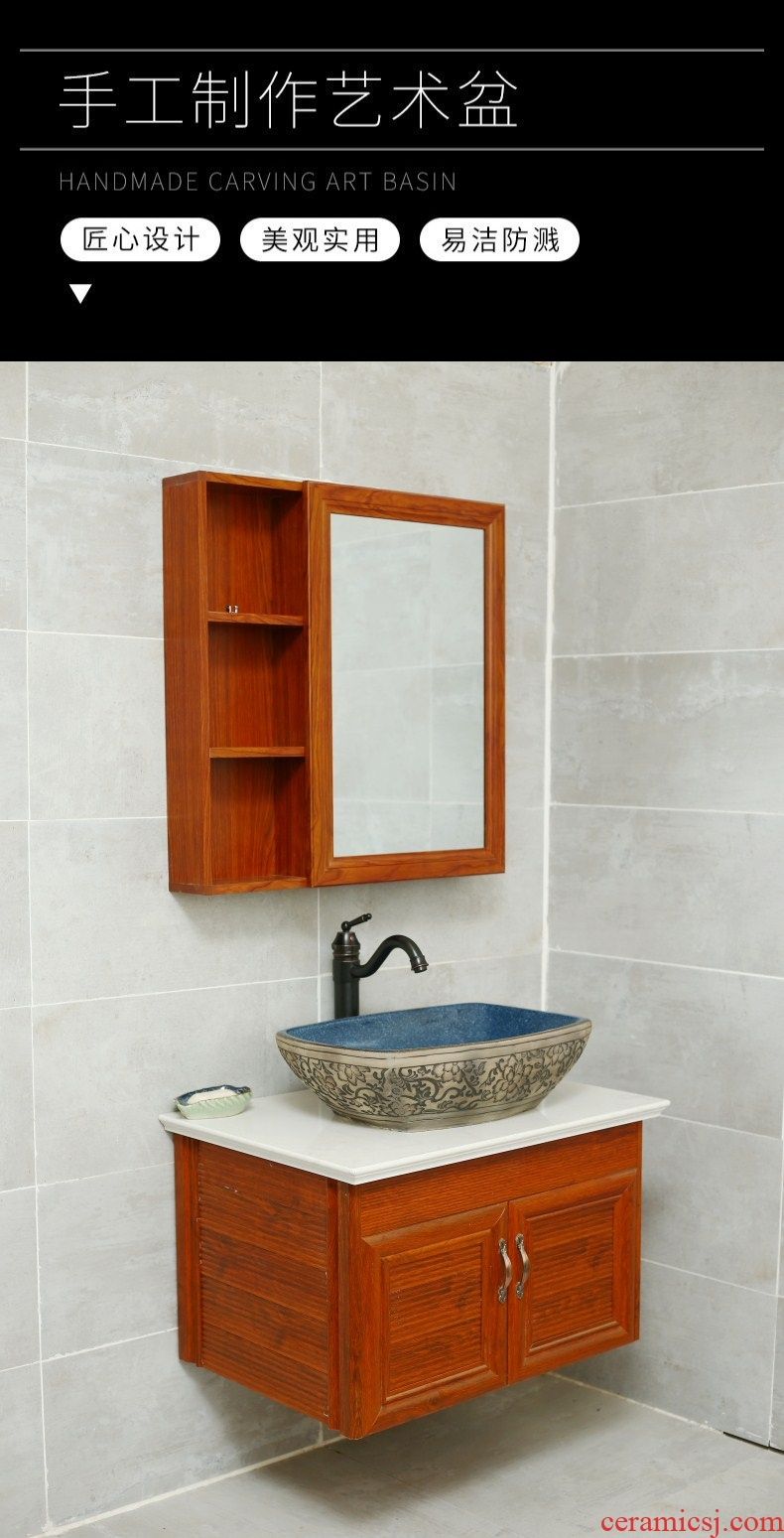 The Mediterranean retro ceramic artists on The stage basin square toilet lavabo tuba basin is a new Chinese style
