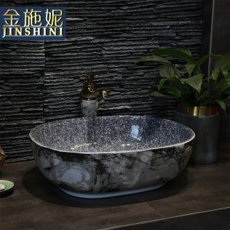 Art stage basin sink ceramic toilet lavatory ink elliptical for wash gargle basin household balcony