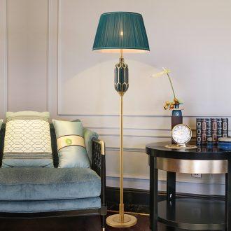 Jingdezhen ceramic full copper lamp light of new Chinese style key-2 luxury living room atmosphere lamp American sweet bedroom berth lamp