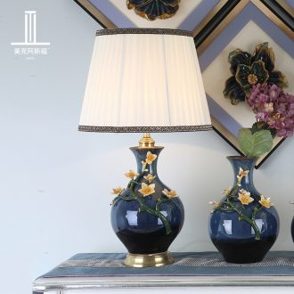 American luxury colored enamel lamp copper lamp of bedroom the head of a bed all European ceramic creative romantic villa lighting lamps and lanterns