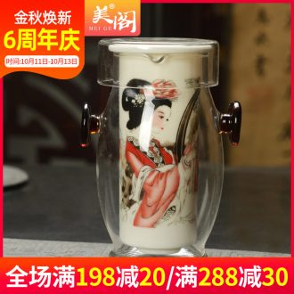 The cabinet glass tea set red cup ears cup hot tea filter remove blue and white porcelain teapot household