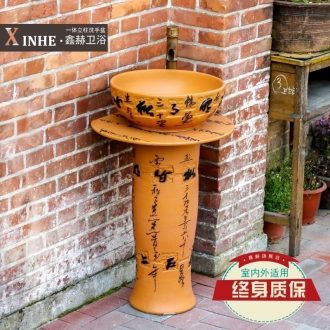 The sink carved hand-painted ceramic basin pillar type commode pool one floor balcony art basin of vertical column