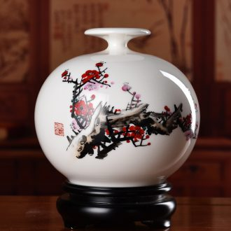 Oriental soil hand-painted ceramics plum flower vase furnishing articles of Chinese style living room a study rich ancient frame art ornaments