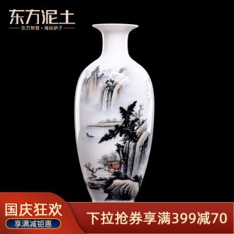Oriental soil hand-painted ceramics vase furnishing articles new Chinese style living room TV cabinet/Chinese bottle ornament