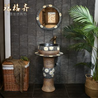 Outdoor art pillar basin of Chinese style restoring ancient ways of archaize ceramic lavatory basin vertical lavabo one-piece column basin