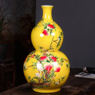 Jingdezhen ceramics yellow live figure ground gourd vases, the sitting room porch decoration feng shui furnishing articles