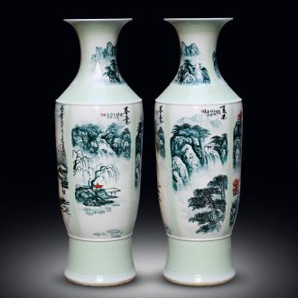 Jingdezhen ceramics big vase hand - made landscape painting spring, summer, autumn and winter to live in the living room a study opening landing place