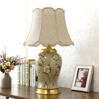 The Desk lamp of bedroom the head of a bed lamp sitting room corner several European rural new Chinese style restoring ancient ways American key-2 luxury full copper ceramic lamp