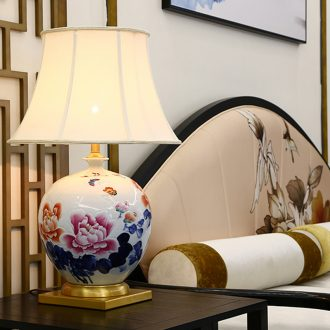 New Chinese blue and white porcelain ceramic desk lamp Angle of sitting room sofa what key-2 luxury villa atmosphere all copper lamp of bedroom the head of a bed