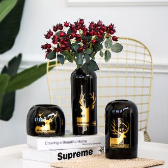 Contracted and I ceramic vase furnishing articles, black Nordic creative home sitting room decoration decoration hydroponic dried flowers flower arrangement