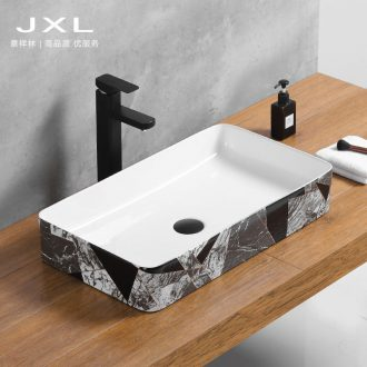 Contracted the Nordic style the sink on the ceramic basin rectangle lavatory washing basin, black and white of the basin that wash a face