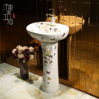 Continental basin of pillar type lavatory balcony column ceramic floor sink basin integrated is suing the sink