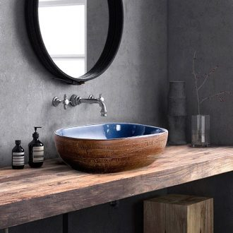 Ceramic stage basin basin oval antique Chinese style household bathroom sink basin bathroom art move