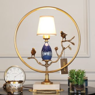 Emperor sitting room, study all ceramic desk lamp of new Chinese style villa's brass lamp of bedroom the head of a bed of high - end jade chandeliers