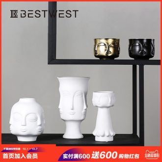 Light luxury ceramic vase face home furnishing articles example room sitting room decoration flower arranging soft adornment creative designer