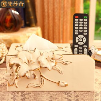 Vatican Sally 's luxurious ceramic European - style tissue box creative household multifunctional smoke box remote control to receive living room