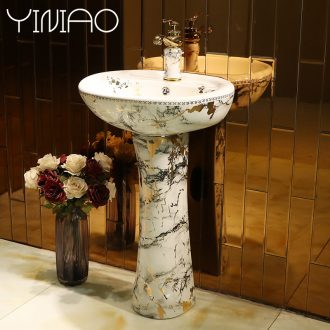 Pillar type lavatory floor integrated ceramic toilet lavabo courtyard in the basin that wash a face vertical sink basin