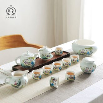 DH jingdezhen pastel kung fu tea set of household ceramic teapot restoring ancient ways is three cups to tureen sample tea cup