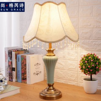 Europe type desk lamp of jingdezhen ceramic lamp of bedroom the head of a bed creative romantic home sweet adornment contracted fashion and personality