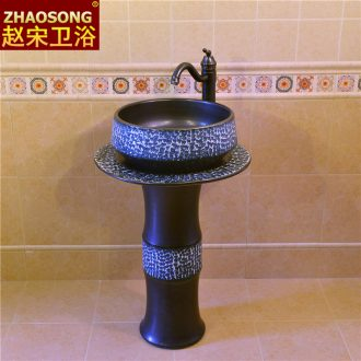 Jingdezhen Chinese style restoring ancient ways ceramic pillar lavabo basin floor balcony outdoor toilet lavatory thickening