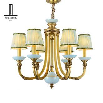 All copper pendant European ceramic lamp sitting room dining - room lamp creative atmosphere bedroom high - grade key-2 luxury villa copper lamp