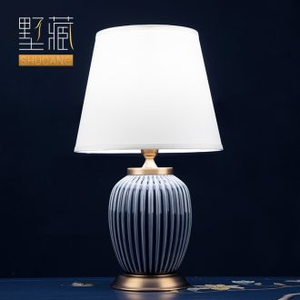 Light luxury american-style lamp ceramic decoration art designer pure color contemporary and contracted sitting room bedroom lamps and lanterns of the head of a bed